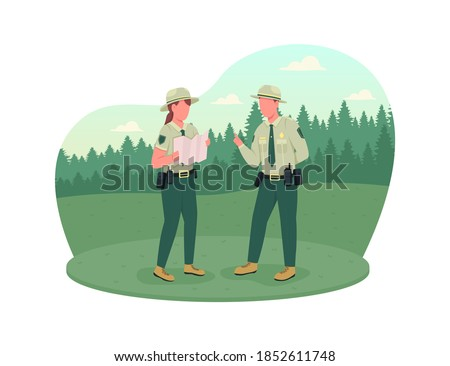 Environmental police 2D vector web banner, poster. Forest protection. Ranger instructor. Police officers flat characters on cartoon background. Law enforcement printable patch, colorful web element Stock photo ©