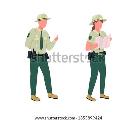 Environmental police male officer flat color vector faceless character set. Forest protection. Law enforcement guards isolated cartoon illustration for web graphic design and animation collection Stock photo ©