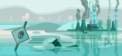 Environmental pollution banner with big factory,cityscape, polluted river, pipes, barrel, skull signboard. Grey smog over the buildings. Ecological problem concept in grey colors. Horizontal landscape