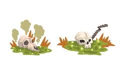 Environmental Pollution Set, Contaminated Air and Industrial Radioactive Waste Cartoon Vector Illustration