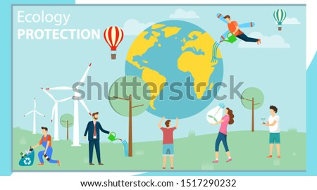 Environmental protection. Ecology protection. A group of mini people care about the environment and protect the environment. Vector illustration, vector.