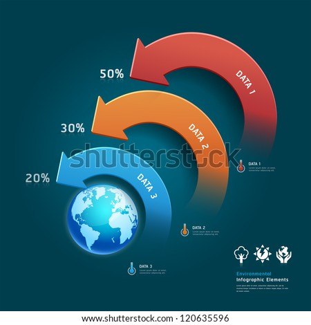 Environmental protection infographic elements with global map. Vector illustration