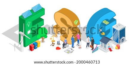 Environmental, social and corporate governance typography banner template, flat vector isometric illustration. ESG business company criteria. Sustainable, ethical business investing. Stock photo ©