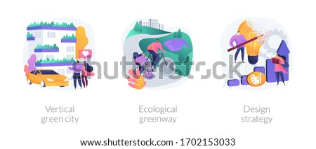 Environmental urban solutions abstract concept vector illustration set. Vertical green city, ecological greenway, design strategy, space-saving eco solution, landscape ecology abstract metaphor.