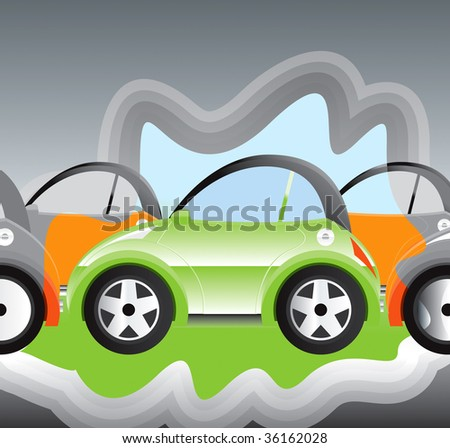 environmentally-friendly battery powered car - stock vector