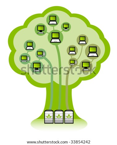 Environmentally friendly Green IT systems infrastructure concept. Power saving servers and clients.