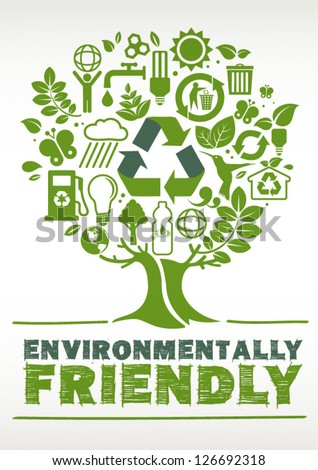 Environmentally Friendly Tree formed by Icons - stock vector
