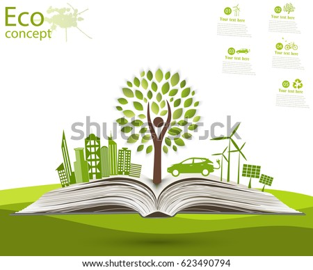 Environmentally friendly world. Illustration of ecology the concept of info graphics modern design. the icon and sign. ecological concepts