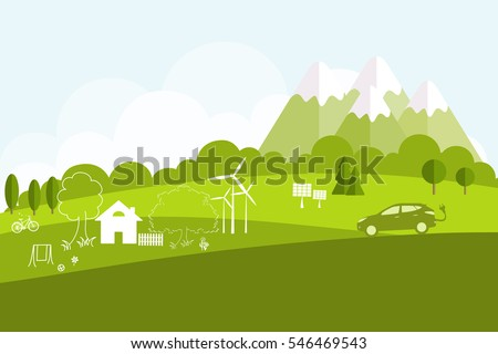Environmentally friendly world. Summer landscape. Flat style. Vector illustration of ecology the concept of info graphics modern design. The icon and sign. Ecological concepts. Electric car.