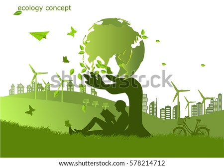 Environmentally friendly world. Vector illustration of ecology