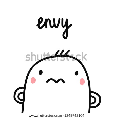 Envy sin for project human sins humanity illustration with marshmallow for prints posters articles psychology psychotherapy and journals