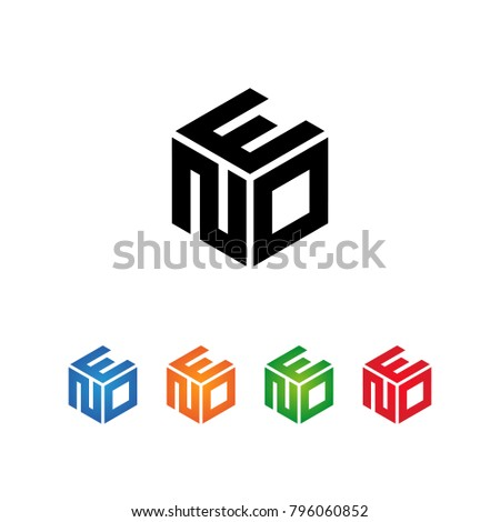 EON,ENO,ONE,OEN,NEO,NOE Logo Initial three letters Template.Modern Style. Hexagon shape concept.Black,Blue,Orange,Green,Red color on white background