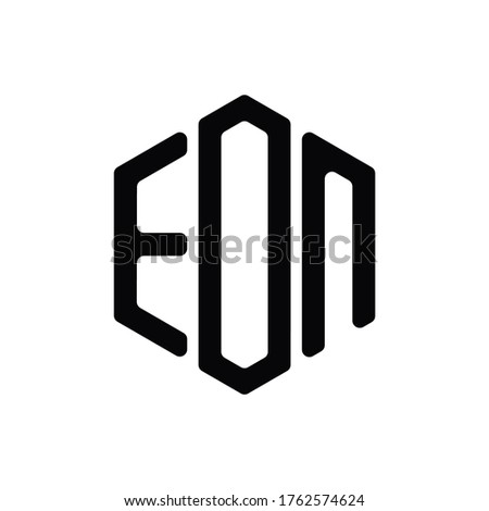 EON Letter Logo Design polygon rounded Monogram Icon Vector Template