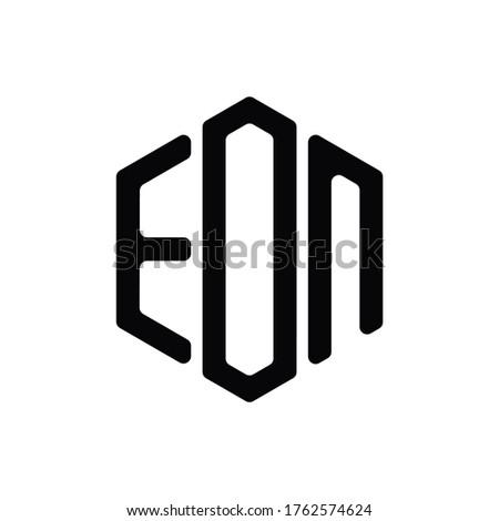 EON Letter Logo Design polygon rounded Monogram Icon Vector Template
