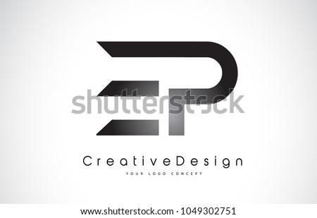 EP E P Letter Logo Design in Black Colors. Creative Modern Letters Vector Icon Logo Illustration.