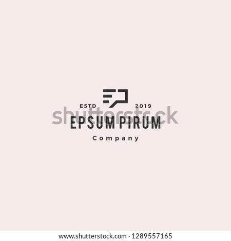 ep letter monogram logo hipster vintage retro vector icon