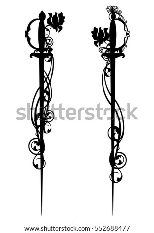 epee swords among rose flowers - black and white vector design.