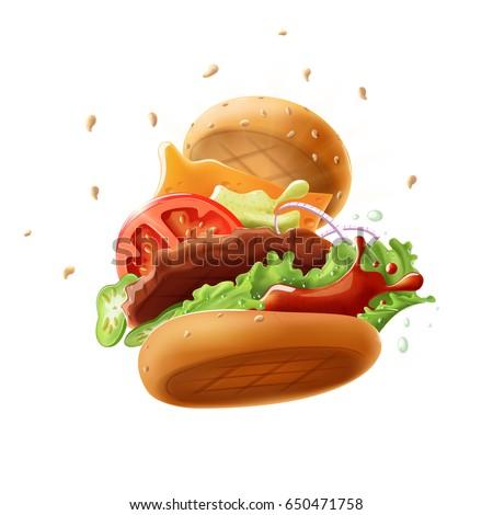 epic burger  isolated on white