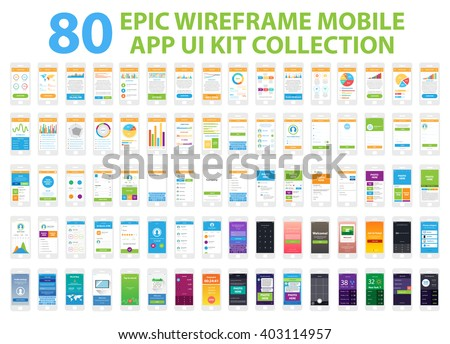 Epic Wireframe Mobile App UI Kit Collection, 80 screens.