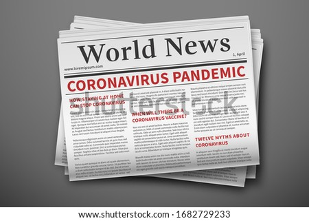 Epidemic breaking news. Mockup of coronavirus newspaper. Coronavirus outbreak newsletter paper page. Vector mockup of a daily newspaper. News related of the COVID-19
