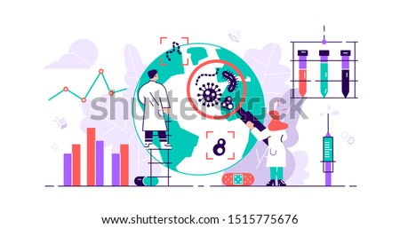 Epidemiology. Health danger risk spread laboratory. Tiny bacteria pandemic outbreak research.Sanitary condition prevention and virus microscopic bacteria infection protection. Flat vector illustration