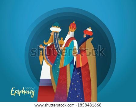 Epiphany Christian festival, Three wise men,3 magic kings bringing gifts to Jesus