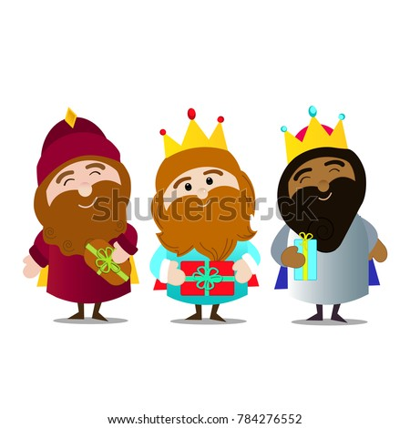 Epiphany day. Three kings. Melchior, Caspar and balthazar with their gifts. No background.