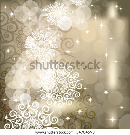 EPS Abstract snowflake  background of holiday lights.
