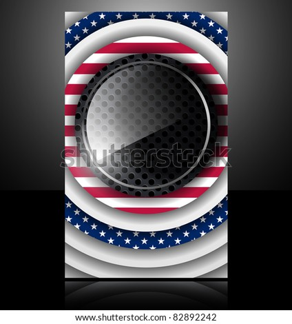 eps10, american flag usa abstract card glass metal national star