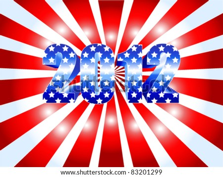 EPS 10: Background for the American 2012 presidential election with red ans white sunburst and numbers in blue with stars as the USA flag.