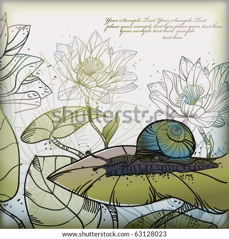 eps10 background with a snail and  hand drawn waterlilies - stock vector