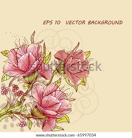 eps10 background with  rich hand drawn flowers, berries and swirls