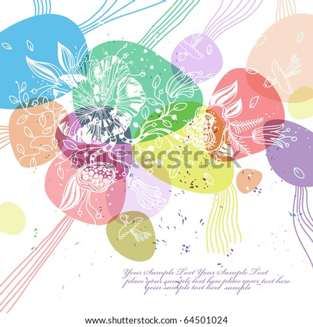 eps10 background with white flowers and colored bubbles