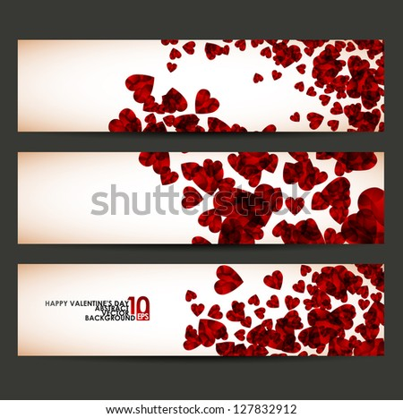 eps10, banner with hearts valentine - stock vector