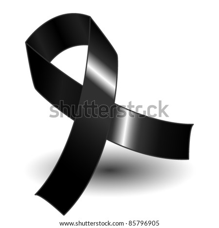 EPS 10: Black awareness ribbon over a white background with drop shadow, simple and effective.