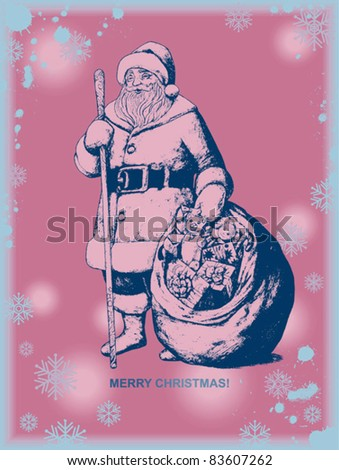 Eps 10, Christmas and New Year illustration. Happy Santa Claus with gifts in sack. vintage style graphic art card for design.