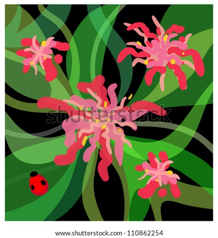 Eps 10 colofrul vector background with stylized flowers and ladybird
