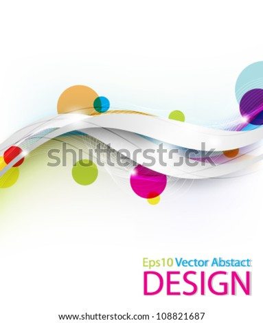 Eps10 Colorful Circles with Stylish Wave Design - stock vector