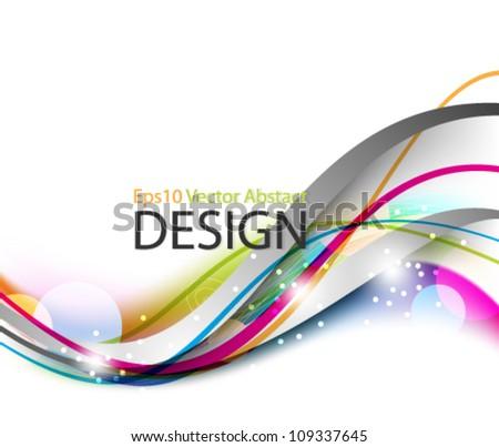 Eps10 Colorful Stylish Wave Design with Elegant Glows