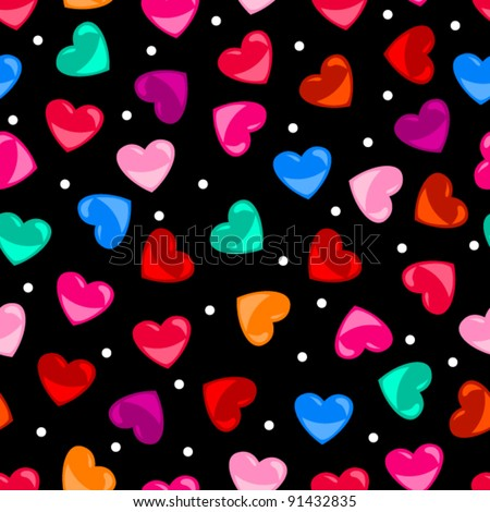 Eps 10: Cute And Fun Seamless Pattern Of Colorful Heart Shapes