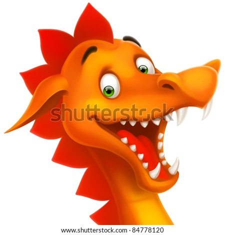 eps cute smiling happy dragon as cartoon or toy isolated on white