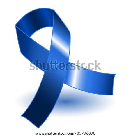 EPS 10: Dark blue awareness ribbon over a white background with drop shadow, simple and effective.