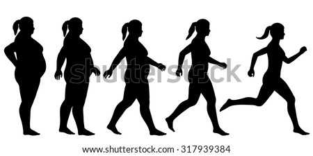 EPS8 editable vector silhouette sequence of a woman exercising to lose weight