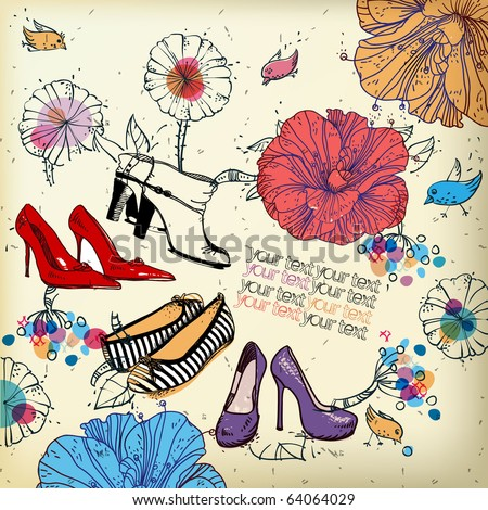 eps10 fantasy background with colored shoes flowers birds and berries
