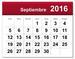 EPS10 file. Spanish version of September 2016 calendar. The EPS file includes the version in blue, green and black in different layers