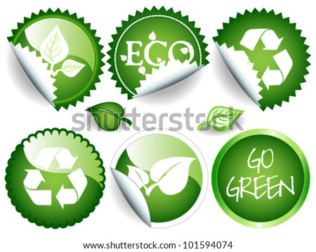 EPS 10: Fun collection of green stickers in different shapes, circle or rosette, some glossy, all with ecological or environmental message, recycling symbol, leaves and others.