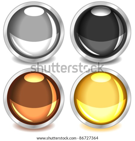 EPS 10: Fun colorful web buttons with drop shadows in grey, black, copper or bronze and gold bound in silver.