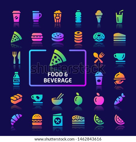EPS10 gradient vector icons related to foods and beverages. Symbols such as vegetables and snacks are included in this set.