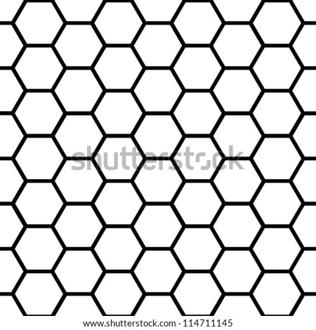 EPS 10: Graphic seamless pattern made of black honeycomb pattern over white.