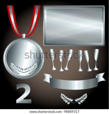 EPS 10: Great sports and games related objects with second position silver medal, ribbon and position number